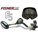"METAL DETECTOR FISHER F5 11"" DD SEARCH METALS GOLD RING COINS"