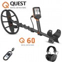 NEW METAL DETECTOR QUEST Q60 MULTIFREQUENCY 5KHZ - 14KHZ AND 21KHZ